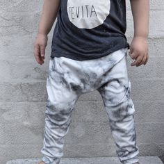 Concrete and marble. Stonewashed tee, tevita kids. Marble drop crotch harem leggings from urban mum shop. Kids trendy fashion. Winter Autumn fashion 2015. Monochrome fashion, kids wardrobe. Baby style. Modern , cool kids, slouch.  Www.urbanmumshop.com.au @urbanmumshop