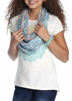 Red Camel  Ombre Medallion Screen Scarf Top Girls 7-16
