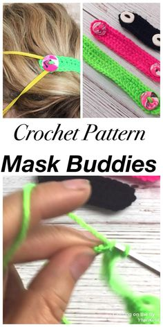 Learn how to make these easy mask buddies and ear savers in 3 sizes. Plus custom marbleized buttons crochet face mask pattern Face Mask Buddies Crochet Pattern - Crafting on the Fly Crochet Patterns For Beginners, Easy Crochet Patterns, Knitting Patterns, Basic Crochet Stitches, Crochet Basics, Free Knitting, Crochet Mask, Crochet Faces, Easy Face Masks