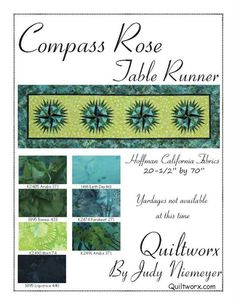 Compass Rose Table Runner Fabric Card, Quiltworx.com, Made by Quiltworx.com.