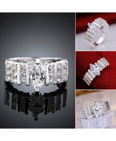 925 White Zircon Silver Plated Rings Fashion Jewelery