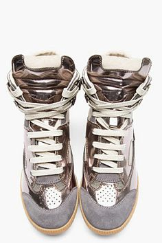 MAISON MARTIN MARGIELA SSENSE Exclusive Pewter leather Replica high-tops
