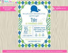 Preppy Whale Birthday Invitation invite whale by jcbabycakes