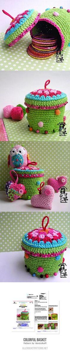 Colorful Basket Crochet Pattern