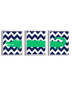 Nursery Girl Boy Art Alligator Chevron Green Navy by ZeppiPrints, $48.00