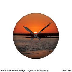 Wall Clock Sunset Background