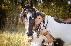 High School Senior Girl with Horse & Feathers