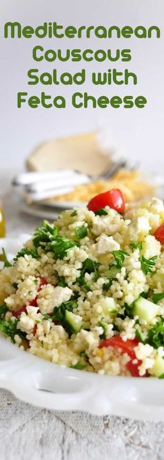 Recipe for Mediterranean Couscous Salad with Feta Cheese - This is a simple, light, and healthy salad. Delicious by itself or as a side with any meal.