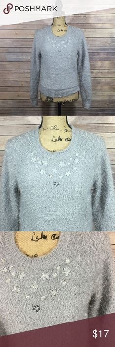 L'amour Sweater Size Medium L'amour By Nanette Lepore Sweater Gray with Rhinestone accent In excellent condition No signs of wear or fading L'amour Sweaters