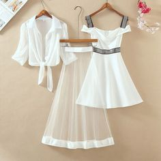 Summer waist slim slimming a word skirt long paragraph one word shoulder bottom strap dress female two-piece dress Teen Fashion Outfits, Cute Fashion, Stylish Outfits, Fashion Dresses, Cute Casual Dresses, Vintage Style Dresses, Pretty Outfits, Beautiful Outfits, Cute Outfits