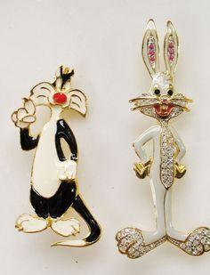 Large Looney Toones Bugs Bunny & Sylvester Cat Pins Enamel & Rhinestone BROKEN #warnerbros