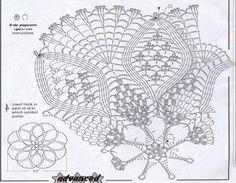 Popcorns, petals and fans crochet doily diagram