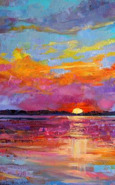 Palette knife oil painting Original gift for Colorful sky