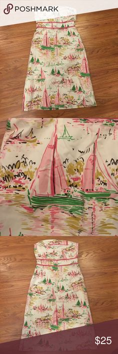 JCrew Sz2 strapless dress, great pattern Cream pink and green sailboat JCrew dress, worn once J. Crew Dresses Strapless