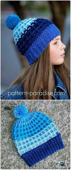 Crochet Alpine Nights Waffle Beanie Hat Free Pattern - Crochet Cable Hat Free Patterns