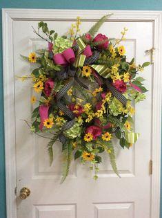 Large Spring Wreath, Spring Door wreath, Wreath with Hydrangeas, Spring Summer Wreath, Wreath for Spring, Easter Wreath, Spring door decor by TammysCreatedDesigns on Etsy https://www.etsy.com/listing/578009824/large-spring-wreath-spring-door-wreath