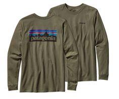 355d63e1ef796 Patagonia Men s Long-Sleeved P-6 Logo Cotton T-Shirt - Industrial Green