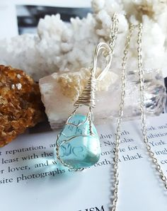 Wire Wrapped Aqua BLUE OBSIDIAN Positive by TheStoneFairyShop