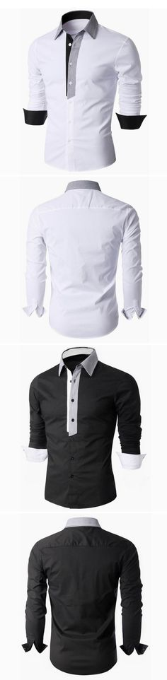 US$15.26  (48% OFF) Business Casual Designer Shirts for Men : Solid Color / Turn-Down / Slim Fit / Long Sleeve