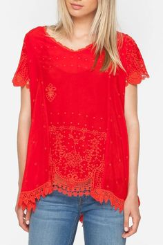 Johnny Was Red Princess Blouse - Main Image
