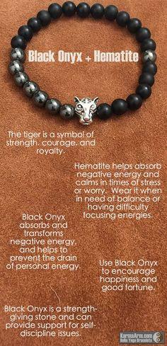 Yoga Meditation. Healing Spiritual Mala. Bead Bracelet. - COURAGE & STRENGTH: Black Onyx • Hematite • Silver Tiger Yoga Mala Bead Bracelet - Karma Arm. - 3