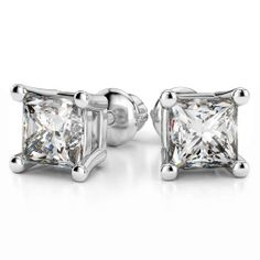 Fair and square: The Four Prong Princess Diamond Stud Earrings in White Gold bring a sparkling flavour to any outfit, from casual jeans to power suit, a dainty sundress to a bombshell lace number!  http://www.brilliance.com/earrings/four-prong-square-earring-settings-white-gold