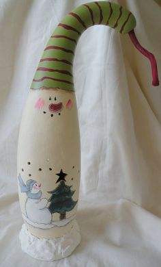 Snowman Gourd Light by MarleyartHoliday on Etsy, $29.00