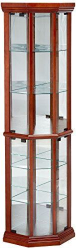 Cherry Finish Solid Wood Glass Corner China Curio Cabinet. This is a brand new traditional style cherry finish solid wood glass corner china curio cabinet. With mirror back and elegant glass insert panels and shelves, this item will make a great addition to your home decor furniture setting.... more details available at https://furniture.bestselleroutlets.com/accent-furniture/display-curio-cabinets/product-review-for-coaster-solid-wood-glass-corner-china-curio-cabinet-medium-