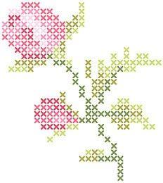 Cross Stitch Mania: Free Rosebud Flower Cross Stitch Chart