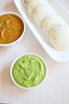 Coconut coriander chutney recipe with step by step photos - south Indian style green coconut chutney recipe for idli, dosa, vada, uttapam.