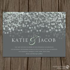 Champagne Bubbles Modern Wedding Invitation  by MalloryHopeDesign, $2.95
