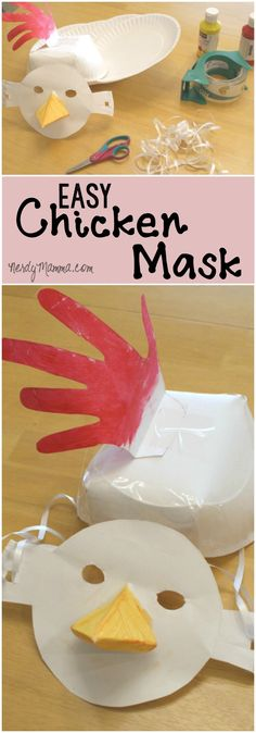 This is such a fun craft project to do with little kids. They'll just think this funny, easy chicken mask is so silly! Adult Crafts, Easy Crafts For Kids, Easy Diy Crafts, Diy Craft Projects, Projects For Kids, Fun Crafts, Craft Ideas, Creative Kids, Creative Crafts