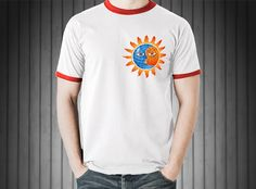 Night & Day. Men's Ringer T-Shirt by American Apparel. Creative and Original Design.