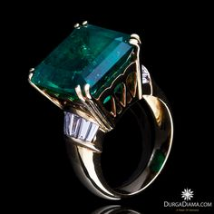Colombian Emerald 15.10 ct Diamond Tapered-Cut Ring | Rings | DurgaDiama.com
