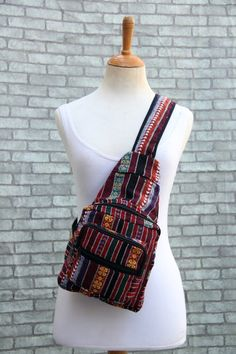 f96a077afa38 Hippie Sling Backpack Purse with stash pocket -Small Nepali Woven Fabric  Rucksack