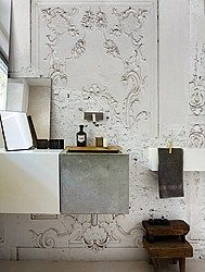 Wall paper that looks like ancient stucco from a company in Milan, Italy called Wall & Decò