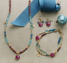 Ruby Blues Collection – handmade ruby and apatite jewelry set. Ruby Blues Collection – handmade ruby and apatite jewelry set. Seed Bead Jewelry, Metal Jewelry, Boho Jewelry, Jewelry Sets, Jewelry Crafts, Beaded Jewelry, Jewelery, Jewelry Design, Beaded Bracelets