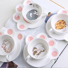 Creative Cartoon Cute Cat Ceramic Coffee Cup And Saucer
