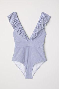 Swimsuit with Flounce - White/Blue striped - Ladies Bikini Sets, Bikini Modells, Bikini Beach, Best Swimsuits, Women Swimsuits, One Piece Swimwear, One Piece Swimsuit, Summer Outfits, Cute Outfits
