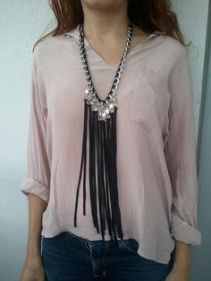 long necklace leather fringes and stars. $35.00, via Etsy.