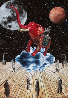 Elephant by the moon Analogue collage 70/50 cm  http://www.georgeboya.com/