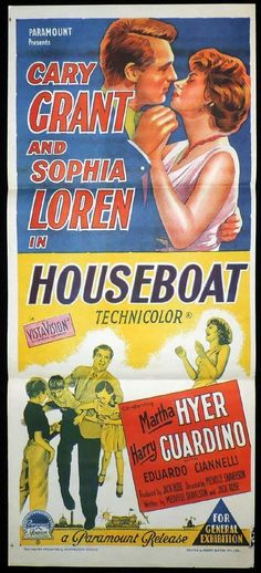 HOUSEBOAT Original Daybill Movie Poster Cary Grant Sophia Loren
