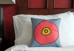 Poppy Applique Pillow