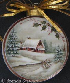 Handpainted Christmas Ornaments, Christmas Ornaments To Make, Hand Painted Ornaments, Wooden Ornaments, How To Make Ornaments, Christmas Crafts, Christmas Bulbs, Ball Ornaments, China Painting
