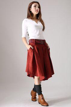 Red skirt woman linen skirt  midi skirt customa made by xiaolizi, $59.99