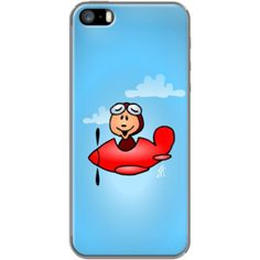 Red airplane with laughing pilot By CardVibes for                           Apple  iPhone 5/5s #TheKase #Cardvibes #Tekenaartje #iPhone #Smartphone #cover #case