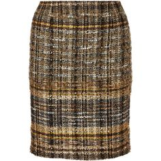 Oscar de la Renta for THE OUTNET Metallic bouclé-tweed skirt (715 CAD) ❤ liked on Polyvore featuring skirts, gold, colorful skirts, knee high skirts, knee length skirts, metallic skirt and brown knee length skirt