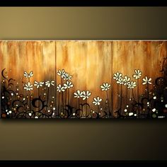 Shoply.com -Floral Markings Contemporary Modern Abstract Floral Daises with Stems by DROB. Only $299.99