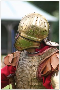 Late Roman Empire auxiliary cavalry helmet detail.
