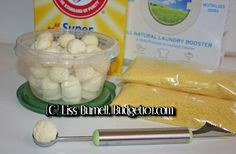 """Super Laundry Bombs- making my favorite homemade laundry detergent into """"pods"""" Laundry Bombs, Laundry Sauce, Homemade Cleaning Supplies, Cleaning Recipes, Cleaning Hacks, Cleaning Solutions, Cleaners Homemade, Diy Cleaners, Household Cleaners"""